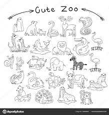 Verzameling Van Cute Cartoon Doodle Dieren En Vogels Van De Wereld