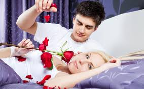 love romantic couple in bed with