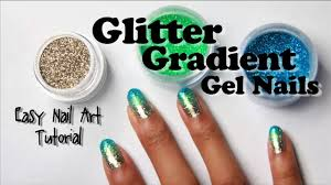 Glitter Gradient Gel Nails with Loose Glitter (easy nail art ...