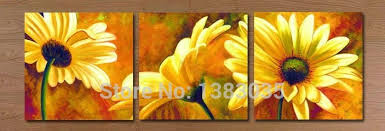hand painted modern abstract 3 panel floral oil paintings on canvas sunflower wall art decor picture sets for living room on sunflower wall art canvas with hand painted modern abstract 3 panel floral oil paintings on canvas