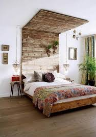 boho room unique wooden bed with creative headboard idea