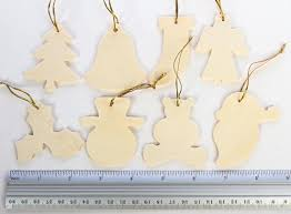 Pkg 24 Unfinished Wood Christmas Ornaments Assortment