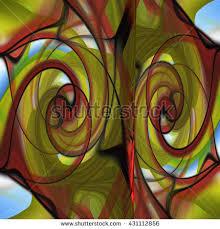 green black mesmerizing: brick red mustard yellow olive green black twirl scribble twist turn circles abstract design pattern symmetrical