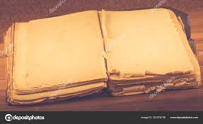 open old book blank pages text vine wooden table stock photo