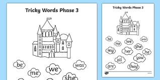 Printable phonics worksheets and flash cards: Phase 3 Tricky Word Stepping Stone Colouring Worksheet Worksheet