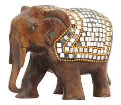 whole elephant figurine bulk 3 hand carved wooden elephant statue decorative mirror and beads work