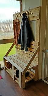 Coat Rack And Shoe Storage Homemade Coat Rack With Shoe Storage And Bench All From Pallets 38