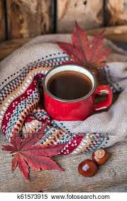 Fall or autumn blanket, leaves, rustic. Red Vintage Cup Of Coffee With A Knitted Sweater Fall Maple Leaves And Chestnuts On A Wooden Background Stock Photography K61573915 Fotosearch