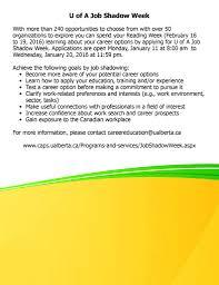 uofa ana news events jan job shadow week deadline next