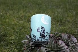 cat bird play starry night crescent moon pet coffee mug tea cup night time pine trees