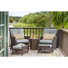hampton bay blue hill piece patio conversation set with blue