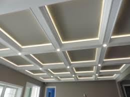 coffered ceiling lighting. Interior: Detail Image Coffered Ceiling Design Ideas With Recessed Lighting I