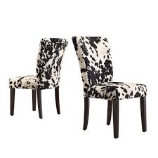 homesullivan whitmire black cowhide fabric parsons dining chair set of 2