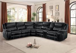 bastrop black leather reclining sectional