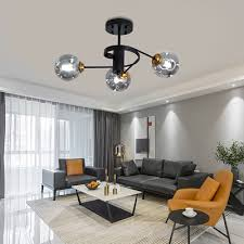 curved arms living room semi flush
