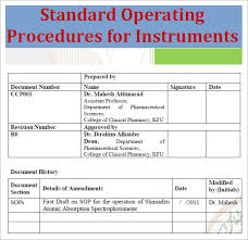 standard operating procedure template word 22 sample sop templates pdf doc