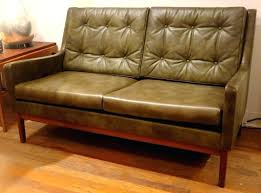sage green leather loveseat rare mid century modern by