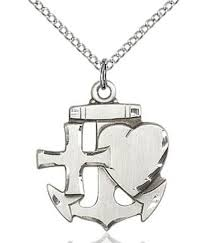 faith hope and charity medal sterling silver