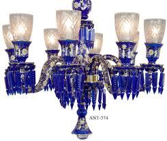 vintage hardware lighting antique 8 light chandelier cobalt blue bohemian glass and crystals ant 374