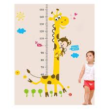 Cute Giraffe Monkey Height Ruler Wall Decal Stickers Removable Pvc Growth Chart Wall Art Murals For Kids Room Nursery Living Room Wall Art Tree