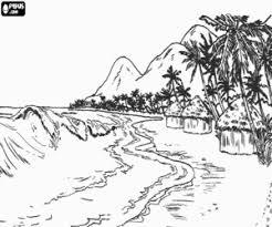 Kleurplaat Het Landschap Van Een Tropische Kust Kleurplaten