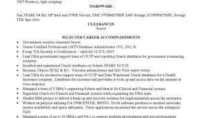 Oracle Dba Cv Oracle Resume Sample