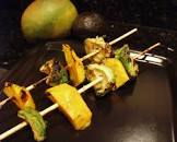 bbq mango   avocado skewers