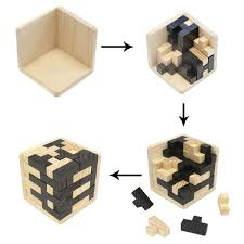 brain teaser iq game tetris cube with wooden 3d puzzles 54 piece