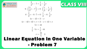 linear equation in one variable problem 7 equation maths class 8 viii isce cbse you