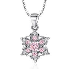 details about 925 sterling silver crystal flower pendant necklace for women fashion jewelry
