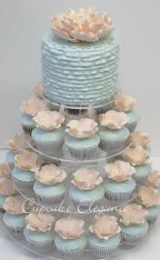 Baby Blue Wedding Cupcakes