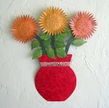 custom made metal sunflower wall art sculpture fl art home wall decor vase