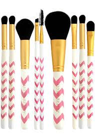 get ations makeup brushes set 9pc pink chevron professional makeup brushes set free
