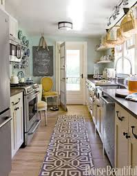 galley kitchen lighting plans. a bold rug and light blue colored walls creates for an inviting galley kitchen space. (image via house beautiful) lighting plans g