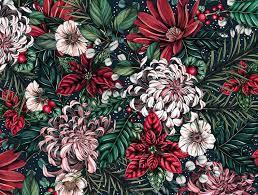 Illustrated Holiday Botanical Pattern By Maggie Enterrios On