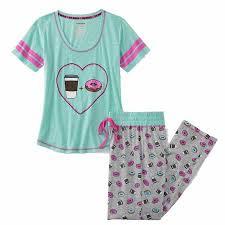 Juniors Womens Mint Green Coffee Donuts Pajamas Lightweight Sleep Set X Large