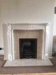 fireplace surround marble cream and white mantelpiece in