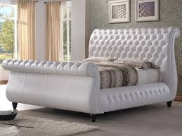swan white leather bed frame luxury white leather swan chesterfield sleigh bed solid wood feet super kingsize white leather chesterfield bed top