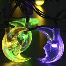 Moon Shape Multi Color Solar Powered Outdoor String Lights with 30