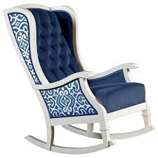 blue rocking chair. Blue And White Trellis Tufted Velvet Traditional Nursery Room Decor Rocking Chair