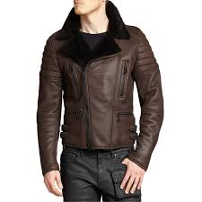men s moto classic brown shearling leather jacket