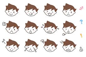 男の子の顔表情別のフリーイラスト素材12パターンセット
