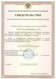 Национальный союз лоббистов Свидетельство о государственной  Свидетельство о государственной регистрации НСЛ Минюст