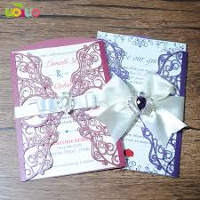 Diy 25set Customize Inc192 Laser Cut Wedding Invitation Card Purple