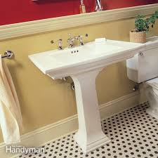 how to plumb a pedestal sink the family handyman bathroom sink pedestal