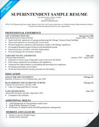 Construction Resume Cover Construction Superintendent Resume