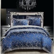 royal blue luxury duvet cover sets cotton satin bed sheet set with pillow shams
