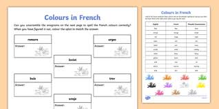 Definitely check out these printable worksheets for students and teachers of the french language. French Colours Worksheet Primary Resources Teacher Made