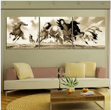3 pieces hot ing modern wall painting running horse decorative art picture paint on canvas prints