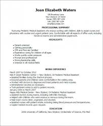 ... Medical Assistant Resume Pediatric ...